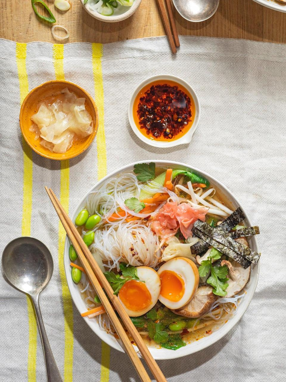 You can add chilli oil for a kick of spice (Lee Kum Kee - Jeremy Pang)