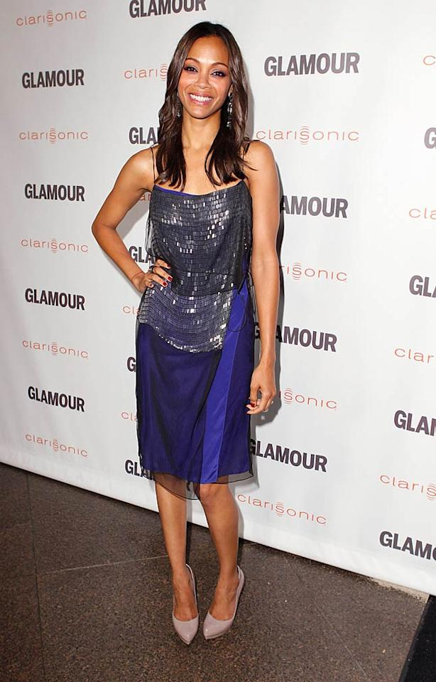 "Zoe Saldana was another actress who stepped behind the camera to direct one of the evening's short films -- all of which were inspired by real-life <em>Glamour</em> readers. You can check out the flicks <a href=""http://www.glamalert.com/reelmoments-2011/index.cfm?page=apos"">here</a>. (10/24/2011)"