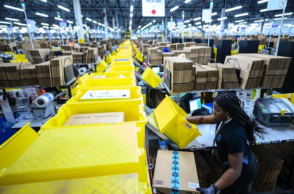 Amazon now counts more than 25 robotic centers like the one at Staten Island, which chief technologist for Amazon Robotics Tye Brady says have changed the way the company operates (AFP Photo/Johannes EISELE)