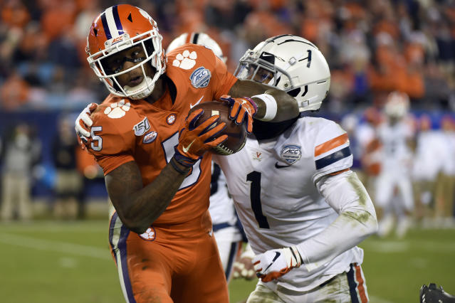 Clemson wide receiver Tee Higgins projects as a future top target for Joe Burrow. (AP Photo/Mike McCarn, File)
