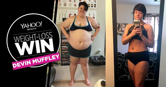 Devin Muffley lost 166 pounds. (Art: Quinn Lemmers for Yahoo Beauty. Photos: Courtesy of Devin Muffley)