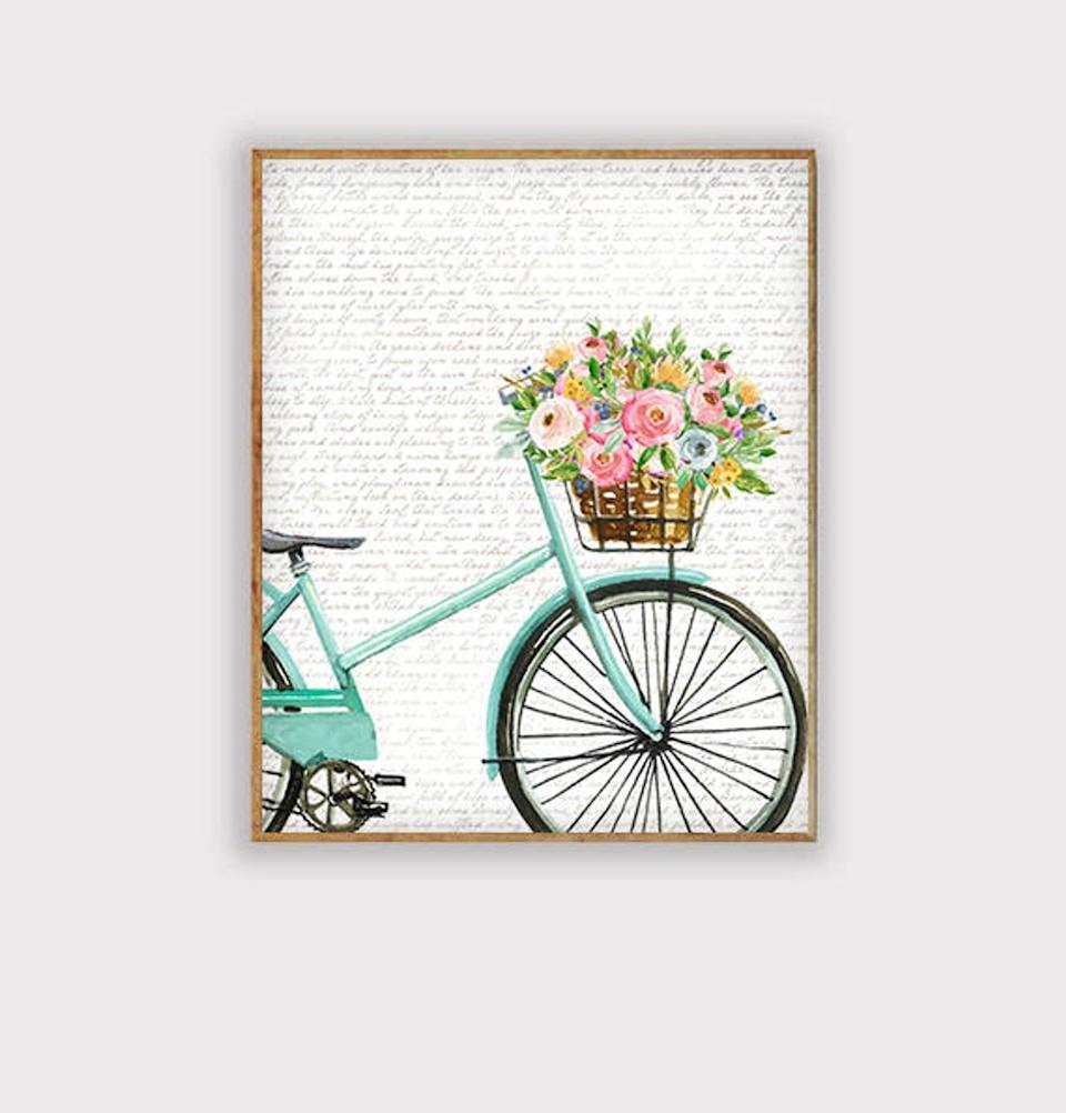 <p>Hang this charming <span>Spring Easter Bike Floral Art</span> ($5) on your bedroom wall.</p>
