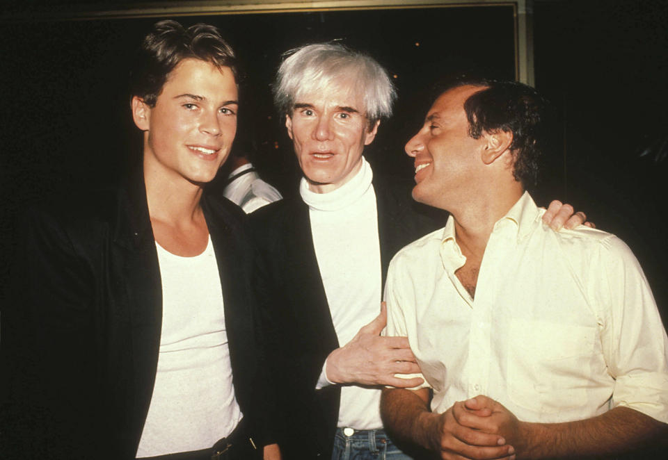 Rob Lowe, Andy Warhol And Steve Rubell At Studio 54 In New York City 07-1989. Credit: 2982744Globe Photos/MediaPunch /IPX