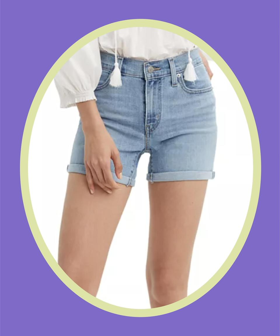 """<br><br><strong>Levi's</strong> Mid-Length Shorts, $, available at <a href=""""https://go.skimresources.com/?id=30283X879131&url=https%3A%2F%2Fwww.macys.com%2Fshop%2Fproduct%2Flevis-womens-mid-length-shorts%3FID%3D4482966%26CategoryID%3D118%26cm_kws%3D4482966"""" rel=""""nofollow noopener"""" target=""""_blank"""" data-ylk=""""slk:Macy's"""" class=""""link rapid-noclick-resp"""">Macy's</a>"""