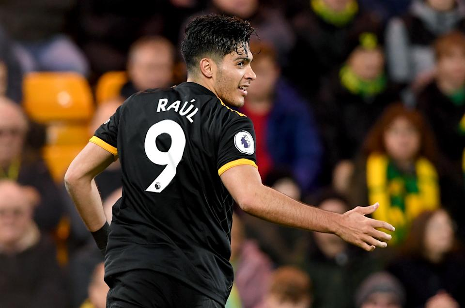 Raul Jimenez and Wolves have their sights set on further success vs. the Manchester clubs. (Photo by Joe Giddens/PA Images via Getty Images)