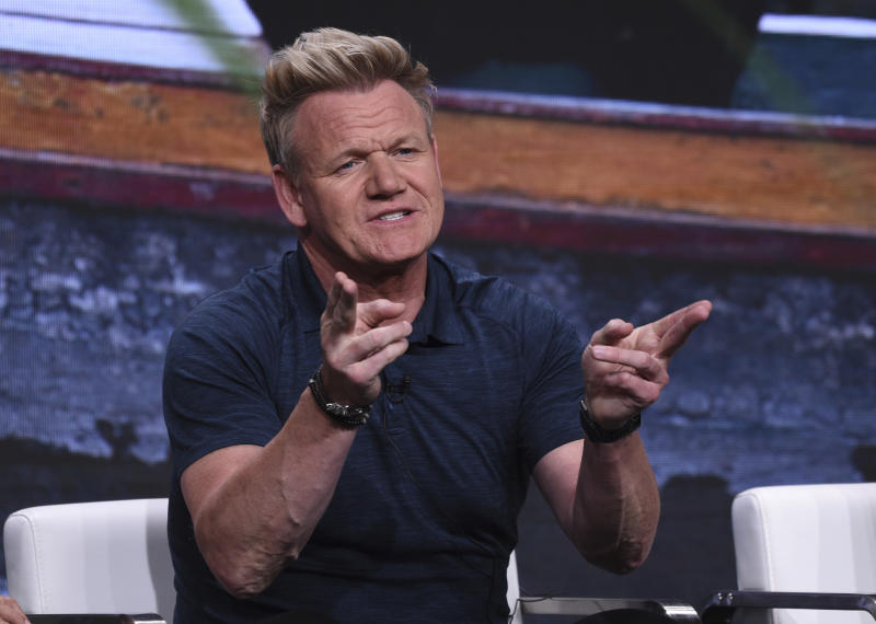 "Chef Gordon Ramsay participates in National Geographic's ""Gordon Ramsay: Uncharted"" panel at the Television Critics Association Summer Press Tour on Tuesday, July 23, 2019, in Beverly Hills, Calif. (Photo by Chris Pizzello/Invision/AP)"