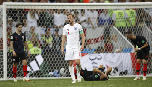 England's Harry Kane grimaces during the semifinal match between Croatia and England at the 2018 soccer World Cup in the Luzhniki Stadium in Moscow, Russia, Wednesday, July 11, 2018. (AP Photo/Francisco Seco)