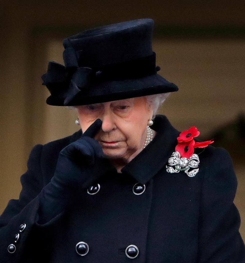 The Queen shed a tear as she watched Remembrance Day. Photo: Getty Images