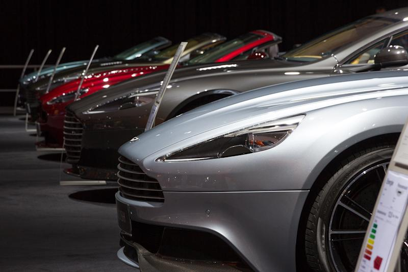 Amsterdam, The Netherlands - April 16, 2015: Row of Aston Martin sports cars at the AutoRAI 2015.