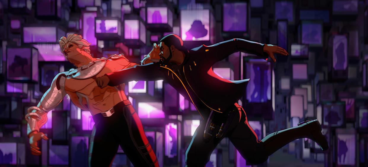 The Collector and T'Challa/Star-Lord do battle in 'What If'. (Disney)
