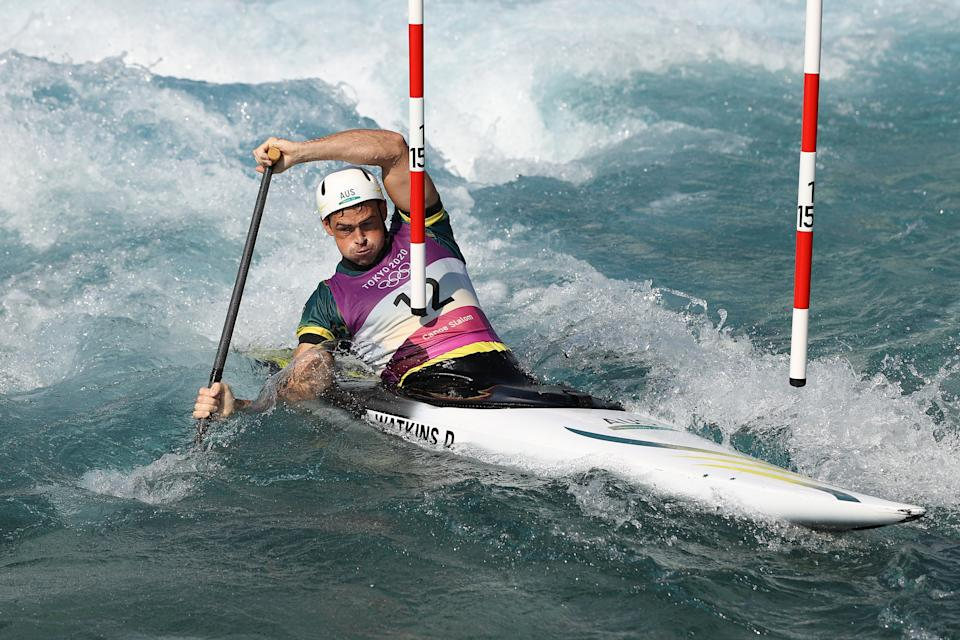 <p>TOKYO, JAPAN - JULY 25: Daniel Watkins of Team Australia competes in the Men's Canoe Slalom Heats 2nd Run on day two of the Tokyo 2020 Olympic Games at Kasai Canoe Slalom Centre on July 25, 2021 in Tokyo, Japan. (Photo by Cameron Spencer/Getty Images)</p>