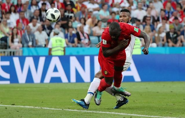 Soccer Football - World Cup - Group G - Belgium vs Panama - Fisht Stadium, Sochi, Russia - June 18, 2018 Belgium's Romelu Lukaku scores their second goal REUTERS/Marcos Brindicci