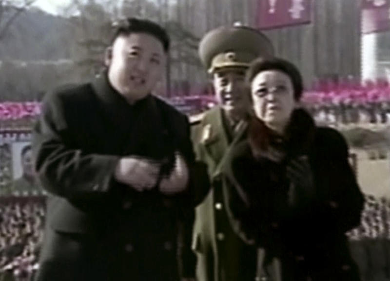 In this Feb. 16, 2013 image made from video, North Korean leader Kim Jong Un, left, along with his aunt Kim Kyong Hui, right, attends a statue unveiling ceremony in Pyongyang, North Korea on the anniversary of late North Korean leader Kim Jong Il's birthday. The aunt of North Korean leader Kim Jong Un has been named to an ad-hoc state committee, the country's official media reported Sunday, Dec. 15, 2013, an indication that the execution of her husband and the country's No. 2, Jang Song Thaek ,has not immediately diminished her influence. (AP Photo/KRT via AP Video, File) TV OUT, NORTH KOREA OUT