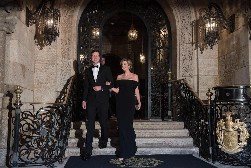 Ivanka Trump, with husband Jared Kushner, in an off-the-shoulder Dolce & Gabbana dress. (Photo: Getty Images)