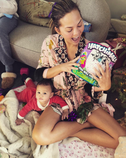 """<p>Chrissy Teigen seemed more excited about the Hatchimal little Luna received for Christmas than her baby girl did. """"We are all pretending this is for Luna,"""" the model joked. (Photo: <a rel=""""nofollow noopener"""" href=""""https://www.instagram.com/p/BOcyBCcAEYt/"""" target=""""_blank"""" data-ylk=""""slk:Instagram"""" class=""""link rapid-noclick-resp"""">Instagram</a>) </p>"""