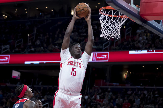 "<a class=""link rapid-noclick-resp"" href=""/nba/players/5336/"" data-ylk=""slk:Clint Capela"">Clint Capela</a> was sent to the Hawks as part of a four-team deal on Tuesday night. (Scott Taetsch/Getty Images)"