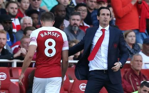 Aaron Ramsey is substituted by Unai Emery - Credit: reuters