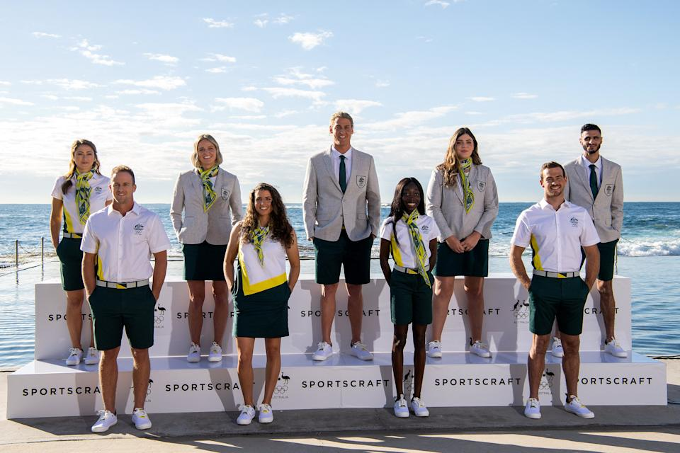 Aussie athletes pose for a photograph during the Australian Olympic Team Opening Ceremony Uniform Unveiling at Wylie's Baths in Sydney on May 18, 2021.