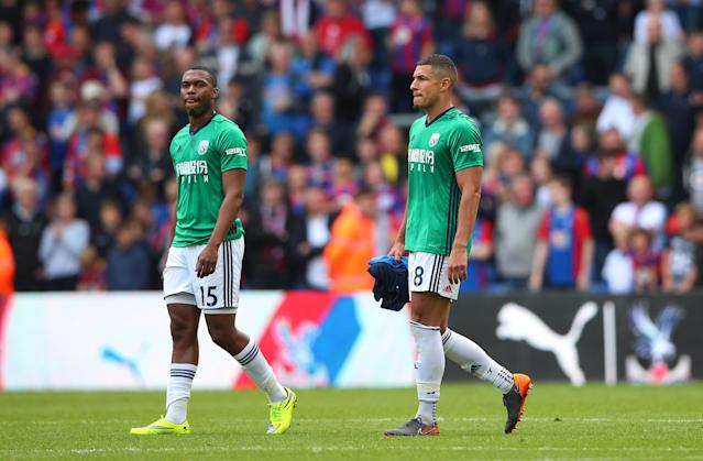 "Soccer Football - Premier League - Crystal Palace vs West Bromwich Albion - Selhurst Park, London, Britain - May 13, 2018 West Bromwich Albion's Daniel Sturridge and Jake Livermore look dejected after the match REUTERS/Hannah McKay EDITORIAL USE ONLY. No use with unauthorized audio, video, data, fixture lists, club/league logos or ""live"" services. Online in-match use limited to 75 images, no video emulation. No use in betting, games or single club/league/player publications. Please contact your account representative for further details."