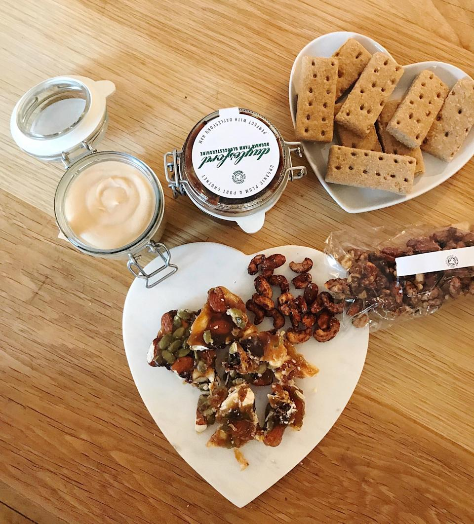Some delicious Daylesford festive goodies. Their organic shortbread and spiced nuts are second to none.