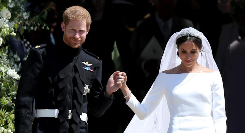 The Duchess of Sussex opted for Shellac to ensure her bridal manicure remained chip-proof. (Getty Images)