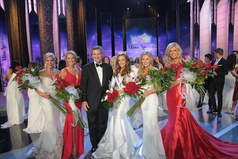 Sam Haskell with Miss America pageant contestants
