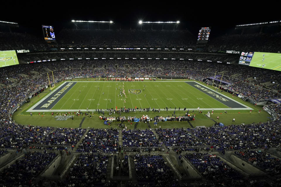 The Baltimore Ravens and Kansas City Chiefs play in the second half of an NFL football game, Sunday, Sept. 19, 2021, in Baltimore. (AP Photo/Julio Cortez)