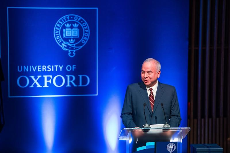 Sultan Nazrin Shah delivers his inauguration address at the official naming ceremony of Blavatnik School of Government's Tun Razak Lecture Theatre in Oxford University.