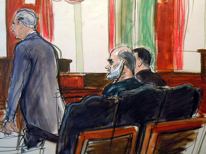 In this courtroom sketch, Osama bin Laden's son-in-law, Sulaiman Abu Ghaith, center, listens as court-appointed federal defender Philip Weinstein, left, speaks in U.S. Federal court Friday, March 8, 2013, in New York. Through his lawyer, Abu Ghaith pleaded not guilty to conspiracy to kill Americans in his role as al-Qaida's top spokesman. The case marks a legal victory for the Obama administration, which has long sought to charge senior al-Qaida suspects in U.S. federal courts instead of holding them at the military detention center at Guantanamo Bay, Cuba. (AP Photo/Elizabeth Williams)