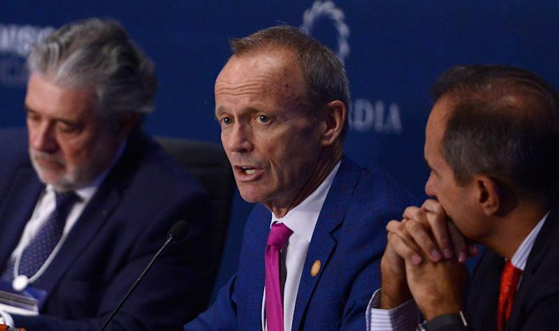 Stockwell Day speaks on stage during a high-level Summit on the Americas on May 12, 2016 in Miami. (Photo: Leigh Vogel via Getty Images)