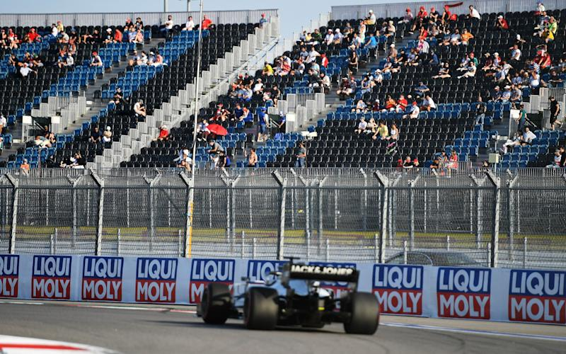 Romain Grosjean of France driving the (8) Haas F1 Team VF-20 Ferrari drives on track as Fans watch the action during qualifying ahead of the Formula 2 Championship at Sochi Autodrom on September 25, 2020 in Sochi, Russia - Getty Images/Pool