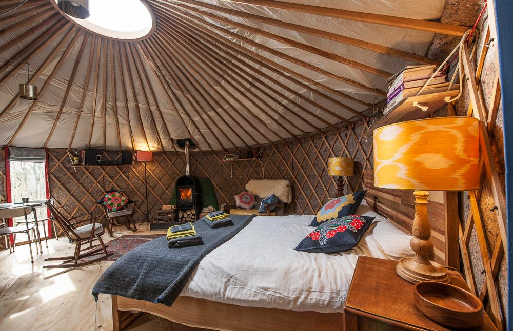 "<p>Decked out with a proper bed, rocking chairs with colourful cushions and a well-equipped kitchen, <a href=""http://www.canopyandstars.co.uk/britain/england/bath-n.e.-somerset/southernwood-castle/bramblewood-yurt"">Bramblewood Yurt</a> is a good choice for anyone dipping their toe into camping. It comes with bags of luxury, including underfloor heating and a sheepskin covered sofa, as well as a bathroom with gleaming white tiles and a wooden floor. The bright lights of Bath are only a 15-minute drive away, yet they will feel a world away in this green space. From £115 per night. Sleeps two.</p>"