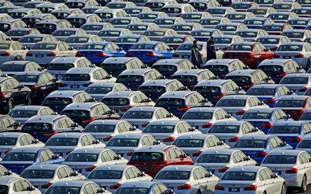 FILE PHOTO: BMW cars are seen at the automobile terminal in the port of Dalian, Liaoning province, China January 9, 2019. Picture taken January 9, 2019. REUTERS/Stringer