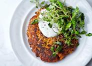 "With a texture somewhere between a latke and a pancake, these vegetarian fritters are also gluten-free. (Thanks, chickpea flour!) <a href=""https://www.bonappetit.com/recipe/carrot-pancakes-with-salted-yogurt?mbid=synd_yahoo_rss"" rel=""nofollow noopener"" target=""_blank"" data-ylk=""slk:See recipe."" class=""link rapid-noclick-resp"">See recipe.</a>"