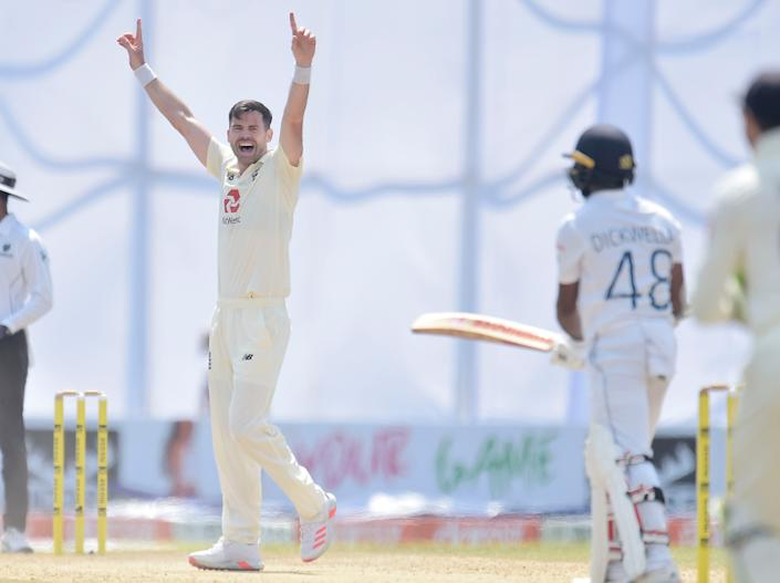 James Anderson celebrates completing his five-wicket haulECB