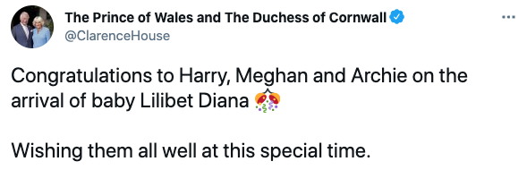 Tweet from @ClarenceHouse congratulating Prince Harry and Meghan Markle on the birth of their second child, daughter Lili on June 6, 2021. Photo: Twitter/@ClarenceHouse.