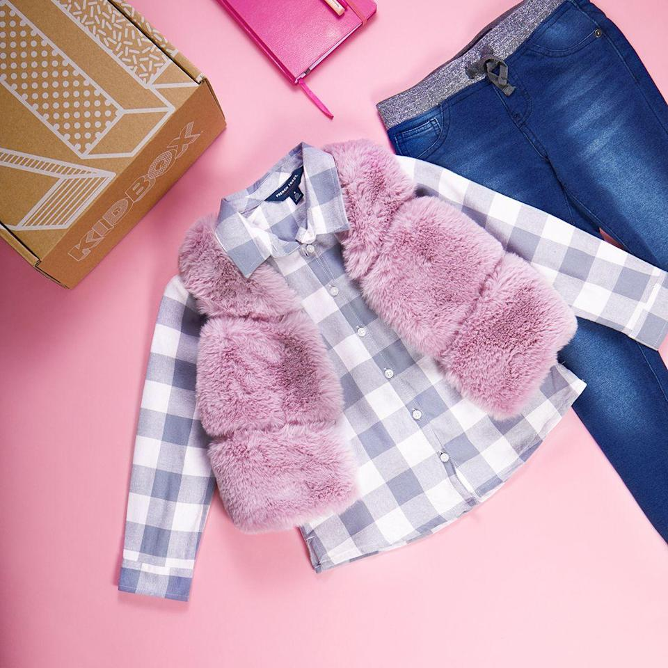 """<p>Fill out a style profile with your little fashionista and she'll receive a fun box of <strong>nine clothing items each month</strong>. Pay for what your keep and send the rest back. If you end up loving it all, the company will donate a new clothing item to a child in need. </p><p><em>6 items for $68 (newborn – 2T); 9 items for $98 (2T <em>–</em> 14)<br>Ages: 0–14</em></p><p><a class=""""link rapid-noclick-resp"""" href=""""https://www.kidbox.com/"""" rel=""""nofollow noopener"""" target=""""_blank"""" data-ylk=""""slk:BUY NOW"""">BUY NOW</a></p>"""