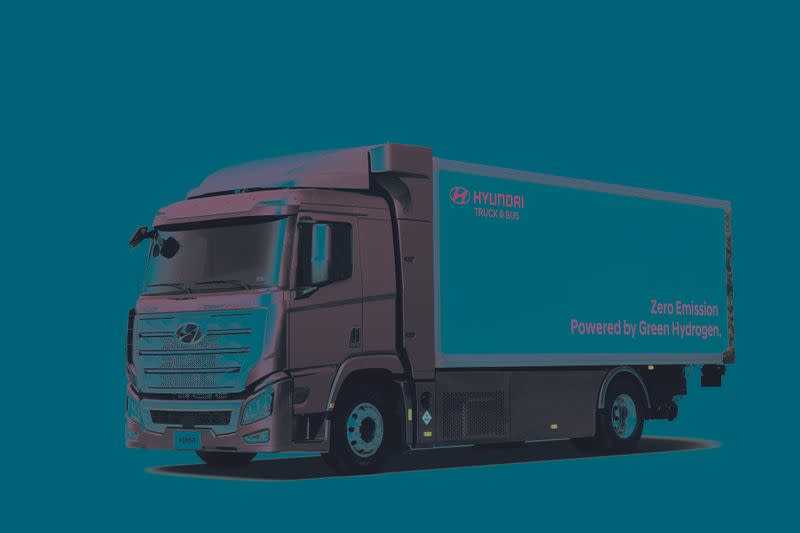 Company handout image of Hyundai's H2 Xcient Fuel-Cell truck