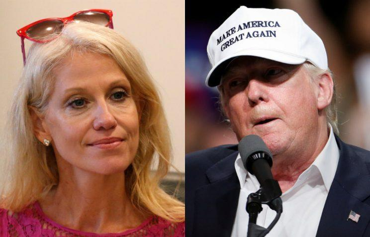 Trump campaign manager Kellyanne Conway and the candidate (Photos: Reuters)