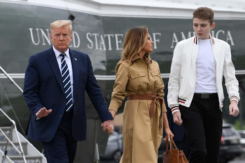 Donald Trump claimed Barron only tested positive for 15 minutes (AP)