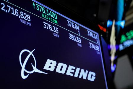 FILE PHOTO: The company logo and trading informations for Boeing is displayed on a screen on the floor of the New York Stock Exchange (NYSE) in New York, U.S., March 13, 2019. REUTERS/Brendan McDermid