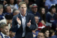 FILE - In this March 10, 2020, file photo, Gonzaga head coach Mark Few motions toward the court in the second half of an NCAA college basketball game against Saint Mary's in the final of the West Coast Conference men's tournament in Las Vegas. Gonzaga and Baylor remained Nos. 1-2 in the first Associated Press mens college basketball poll of the regular season released Monday, Nov. 30, 2020. (AP Photo/John Locher, File)