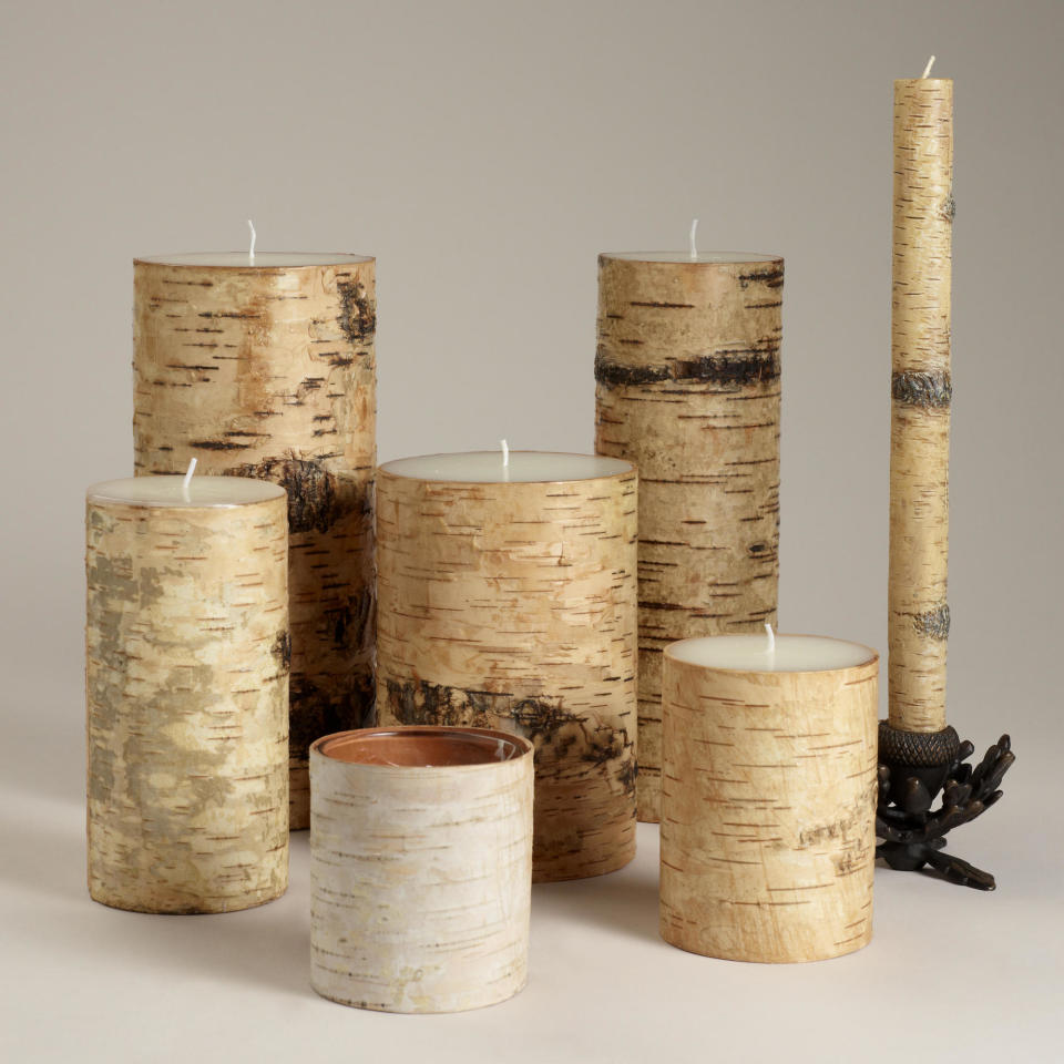 "<div class=""caption-credit""> Photo by: Cost Plus World Market</div><div class=""caption-title""></div><b>Birch Candles, $4.99-$24.99</b> <br> Sometimes you can even find decor that's made out of the nature it illustrates! Bring the great outdoors into your fall décor with these lovely birch-wrapped candles. <br> <i>Get them at <a rel=""nofollow"" href=""http://www.worldmarket.com/product/birch+candles.do?&from=fn%3Cbr"" target=""_blank"">Cost Plus World Market</a></i>"