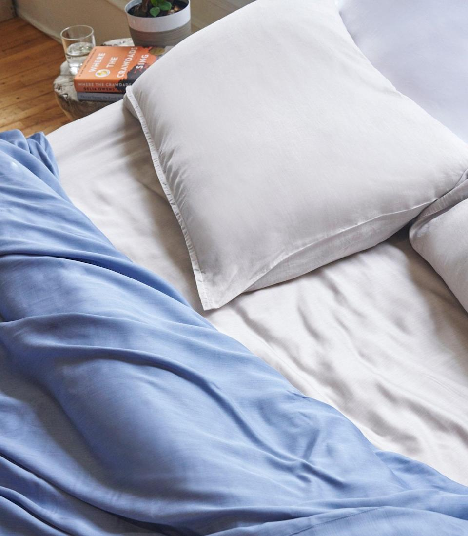 """<h2>Eucalyptus Sheets</h2> <br>Featured as a top-seller in both our roundups on <a href=""""http://refinery29.com/en-us/best-sustainable-bedding-products"""" rel=""""nofollow noopener"""" target=""""_blank"""" data-ylk=""""slk:sustainable bedding"""" class=""""link rapid-noclick-resp"""">sustainable bedding</a> and <a href=""""https://www.refinery29.com/en-us/best-cooling-sheets-reviews"""" rel=""""nofollow noopener"""" target=""""_blank"""" data-ylk=""""slk:cooling sheets"""" class=""""link rapid-noclick-resp"""">cooling sheets</a>, Buffy's eucalyptus sheets were the clear cart favorite as far as breathable and eco-friendly sleep goes.<br><br>Crafted in a 300-single-ply thread count, the set is touted as """"cool-to-the-touch"""" and backed by sweat-free sleepers as, """"simply lovely to sleep on! They don't hold heat in during warm summer nights and are extremely soft and comfortable. Definitely worth it!""""<br><br><em>Shop <strong><a href=""""https://buffy.co/"""" rel=""""nofollow noopener"""" target=""""_blank"""" data-ylk=""""slk:Buffy"""" class=""""link rapid-noclick-resp"""">Buffy</a></strong></em><br><br><strong>Buffy</strong> eucalyptus sheets, $, available at <a href=""""https://go.skimresources.com/?id=30283X879131&url=https%3A%2F%2Fbuffy.co%2Fproducts%2Feucalyptus-sheets"""" rel=""""nofollow noopener"""" target=""""_blank"""" data-ylk=""""slk:Buffy"""" class=""""link rapid-noclick-resp"""">Buffy</a><br><br><br><br><br>"""