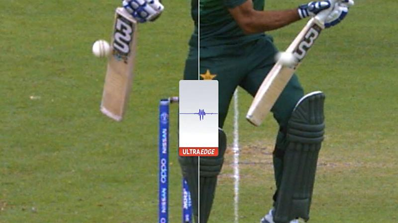 Snicko showed the smallest of edges on Wahab Riaz's bat. Pic: ICC