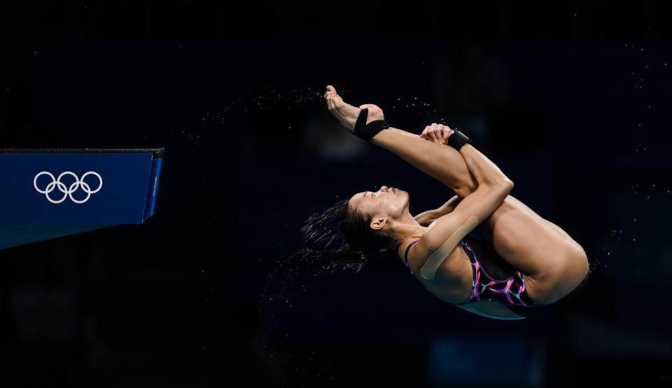 <p>Pandelela Pamg of Malaysia in action during the preliminary round of the women's 10 metre platform at the Tokyo Aquatics Centre on day ten of the 2020 Tokyo Summer Olympic Games in Tokyo, Japan. (Photo By Ramsey Cardy/Sportsfile via Getty Images)</p>