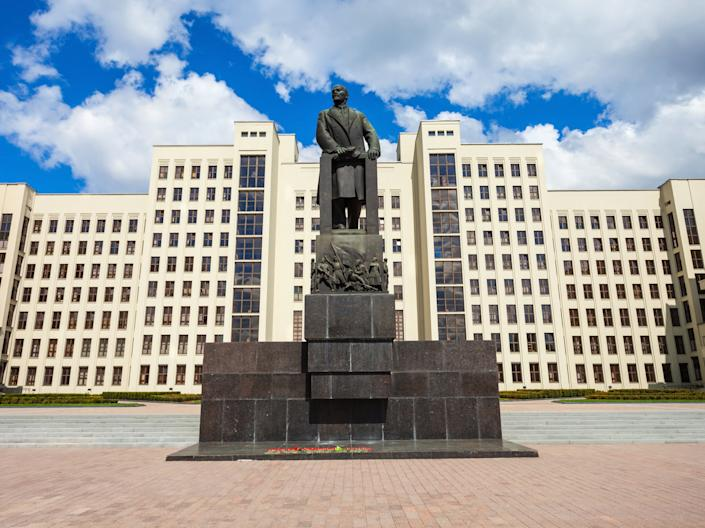 <p>The man was seen on fire near a statue of Lenin by the government headquarters</p> (Getty Images/iStockphoto)