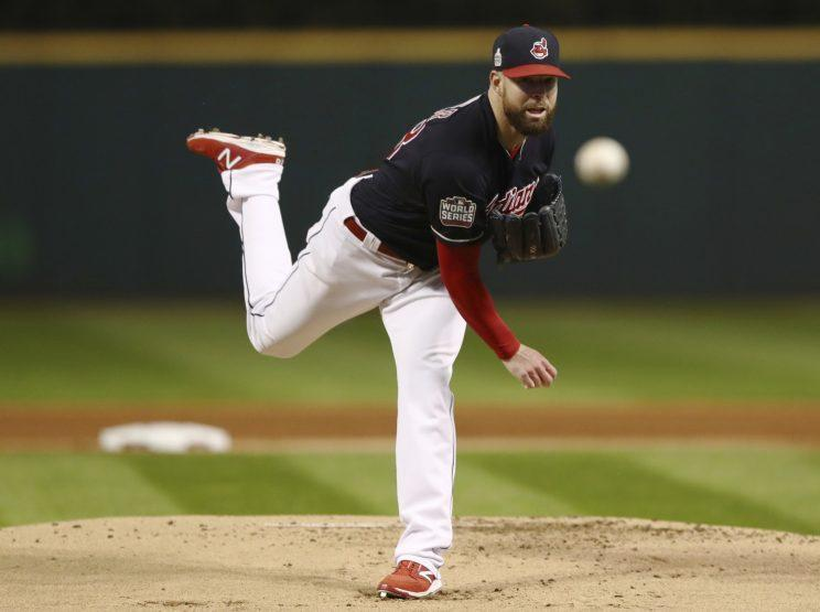 Corey Kluber dominated the Cubs in Game 1 of the World Series. (AP Photo/Elsa Garrison)
