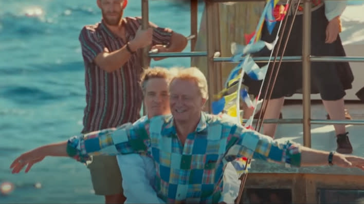 Colin Firth and Stellan Skarsgård in 'Mamma Mia! Here We Go Again'. (Credit: Universal)