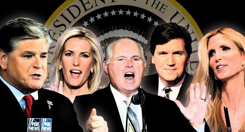 From left, Sean Hannity, Laura Ingraham, Rush Limbaugh, Tucker Carlson and Ann Coulter